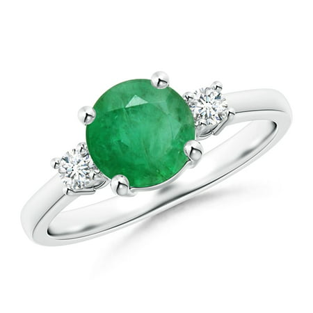 May Birthstone Ring - Prong-Set Round 3 Stone Emerald and Diamond Ring in 14K White Gold (7mm Emerald) - SR1229ED-WG-A-7-6.5