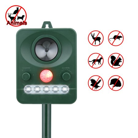 Deer Repellant - AngelCity Ultrasonic Solar Animal & Pest Repeller - With LED Lights Animal and Rodent Pest Repeller for Deer,Dogs,Cats,Birds