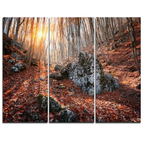 Design Art Rocky Red Autumn Forest - 3 Piece Graphic Art on Wrapped Canvas Set