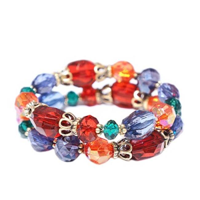 C Jewelry Multicolor Mixed Beads Stretch Bracelet, Set Of 2 Pieces
