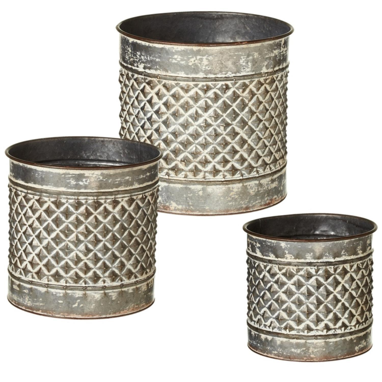 Silver Planter: Set Of 3 Silver Rustic Embossed Diamond Metal Distressed