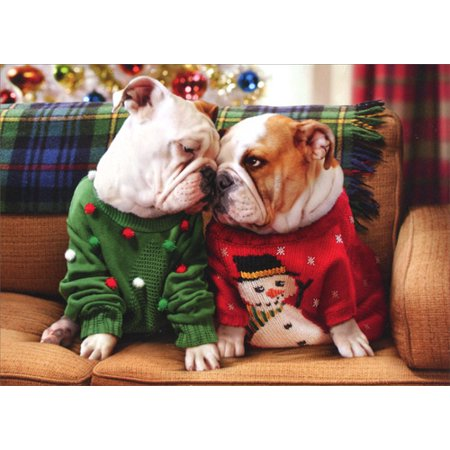 Avanti Press Christmas Bulldogs In Sweaters Pop Up Stand Out Dog Christmas Card