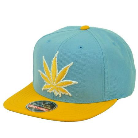 Marijuana Mile High Leaf Weed Snapback Flat Bill Baby Blue Yellow Mens 420 ()