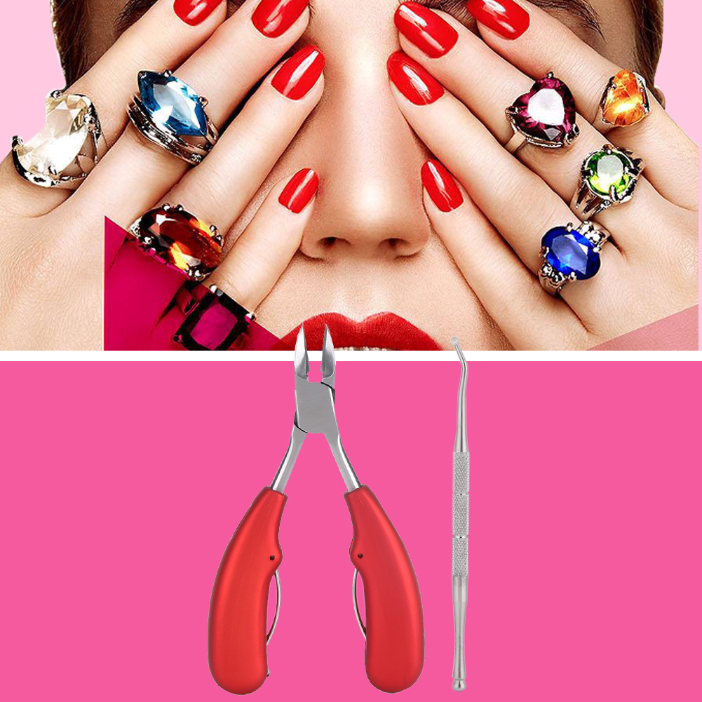 Yosoo Double Spring Cuticle Toenail Clipper Cutter Dirt Removing Nail Lifter Manicure Tool Set , Manicure Tool Kit,Toenail Clipper