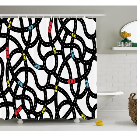 Cars Shower Curtain, Intertwining Roads with Cars on Them Complicated Design with Urban Life Theme, Fabric Bathroom Set with Hooks, 69W X 70L Inches, Black Yellow Blue, by Ambesonne (Car Themed Decor)