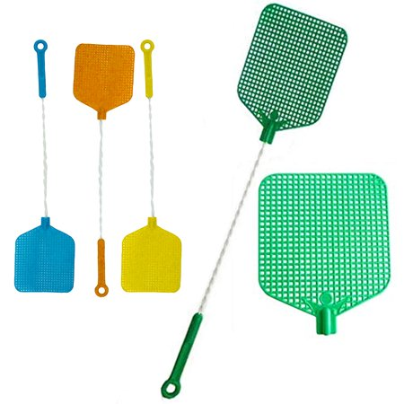 2 Wire Mesh Fly Swatter Plastic Bug Mosquito Insect Flying Wasp Killer Catcher ()