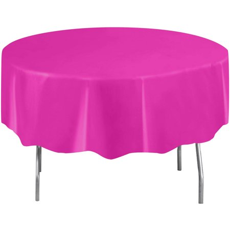 (6 pack) Neon Pink Plastic Party Tablecloth, Round, 84 in (Pink Plastic Tablecloth)