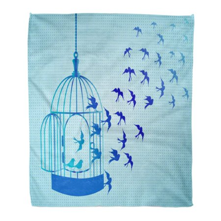 ASHLEIGH Throw Blanket Warm Cozy Print Flannel Blue Dove Silhouettes Flock of Birds Crows Swans Cages Birdcage Black Comfortable Soft for Bed Sofa and Couch 58x80 Inches