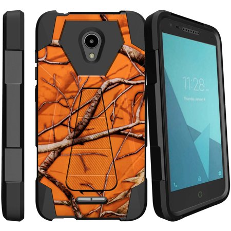 Alcatel IdealXcite Dual-Layer Impact Case w/ Silicone Layer[Shock Fusion Case forIdealXcite | Alcatel Raven LTE | Fiji 2017 ] Kickstand Case w/ Shock Impact Silicone Layer - Orange Branch Camo
