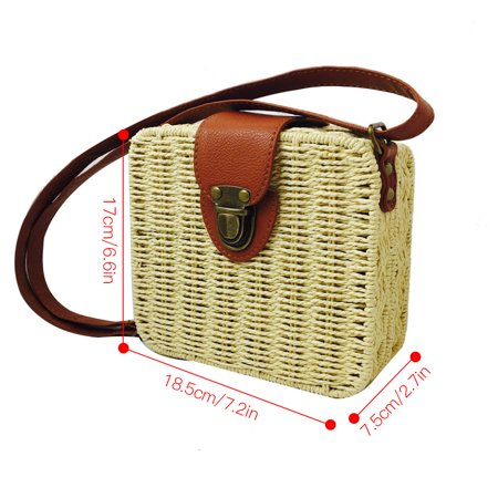 Ustyle Women Rattan Woven Square Shoulder Bag Summer Beach Braided Crossbody Bag with Adjustable Strap, Rose Red - image 4 of 9