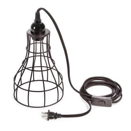 Vintage Light Kit - CVL Hanging Cage Lamp Shade Kit with Light Socket and Cord: Black