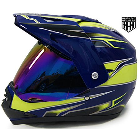 HHH DOT Youth & Kids Helmet for Dirtbike ATV Motocross MX Offroad Motorcyle Street bike Snowmobile Helmet with VISOR (Large, Blue & (Snowmobile Helmet)