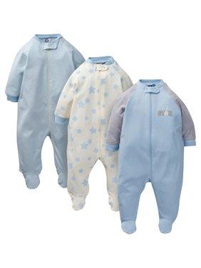 Gerber Baby Boy Organic Cotton Zip-up Sleep 'N Play Pajamas, 3-Pack