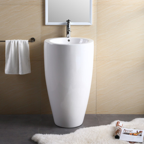 Genial Fine Fixtures Vitreous China 20u0027u0027 Pedestal Bathroom Sink With Overflow