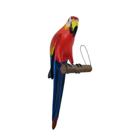 Red And Blue Wooden Tropical Parrot On Perch Wall Hanging