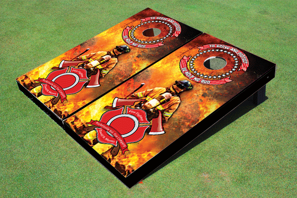 Fire Fighter Maltese Cross Themed Cornhole Board Set by All American Tailgate