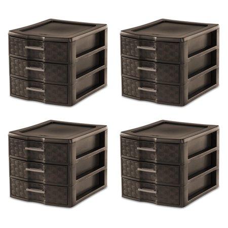 Sterilite Medium Weave Craft Office Supplies 3 Drawer Storage Organizer (4 Pack) - Supply Store