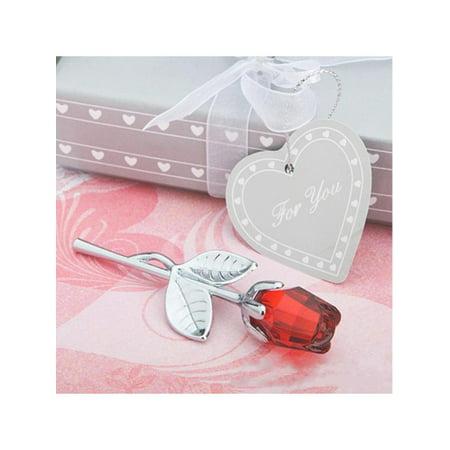 Lavaport Beautiful Crystal Glass Rose Flower Long Stem Love Birthday Wedding Gifts