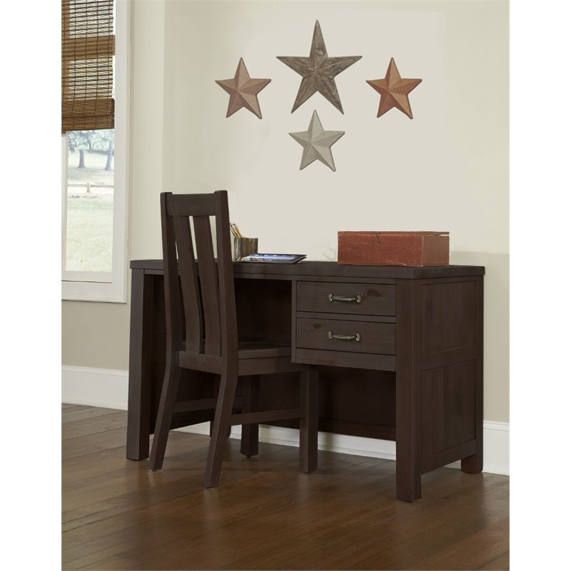 NE Kids Highlands 2 Drawer Writing Desk with Chair in Espresso