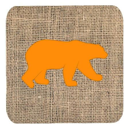 Carolines Treasures BB1005-BL-OR-FC Bear Burlap And Orange Foam Coasters - Set 4, 3.5 x 3.5 In. - image 1 de 1