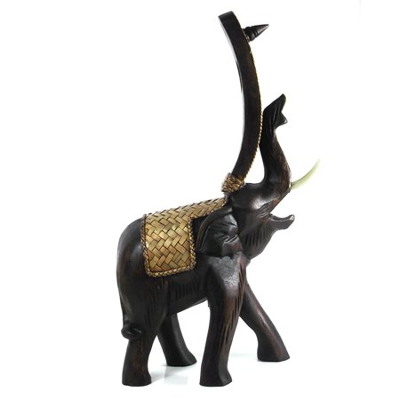 Joyous Elephant Carved Rain Tree Wooden Wine Bottle Holder (Thailand) (Wine Bottle Holder Tree)
