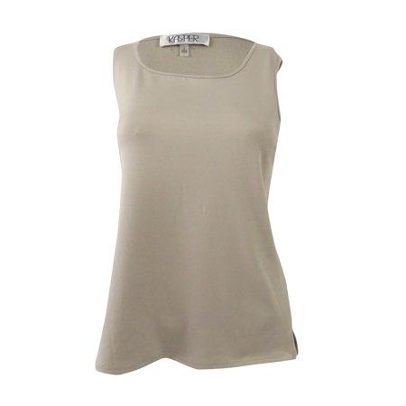 KASPER Womens Beige Sleeveless Square Neck T-Shirt Top  Size: -