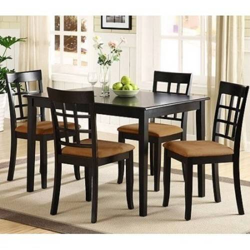 Lexington 5-Piece Dining Table Set with Window-Back Chairs, Black