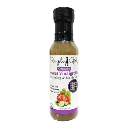 Simple Girl Organic Sugar-Free Sweet Vinaigrette Salad Dressing and Marinade 12 oz (Organic, Sugar Free, Gluten Free, Non GMO, 0 Carbs, Low Calories, 0 Fat)