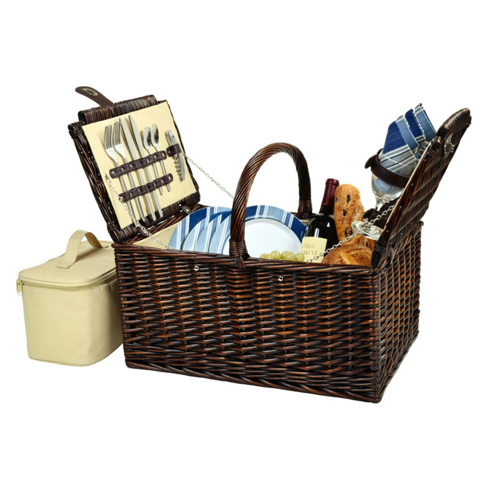 Picnic At Ascot Buckingham Picnic Basket for 4 - Blue Stripe