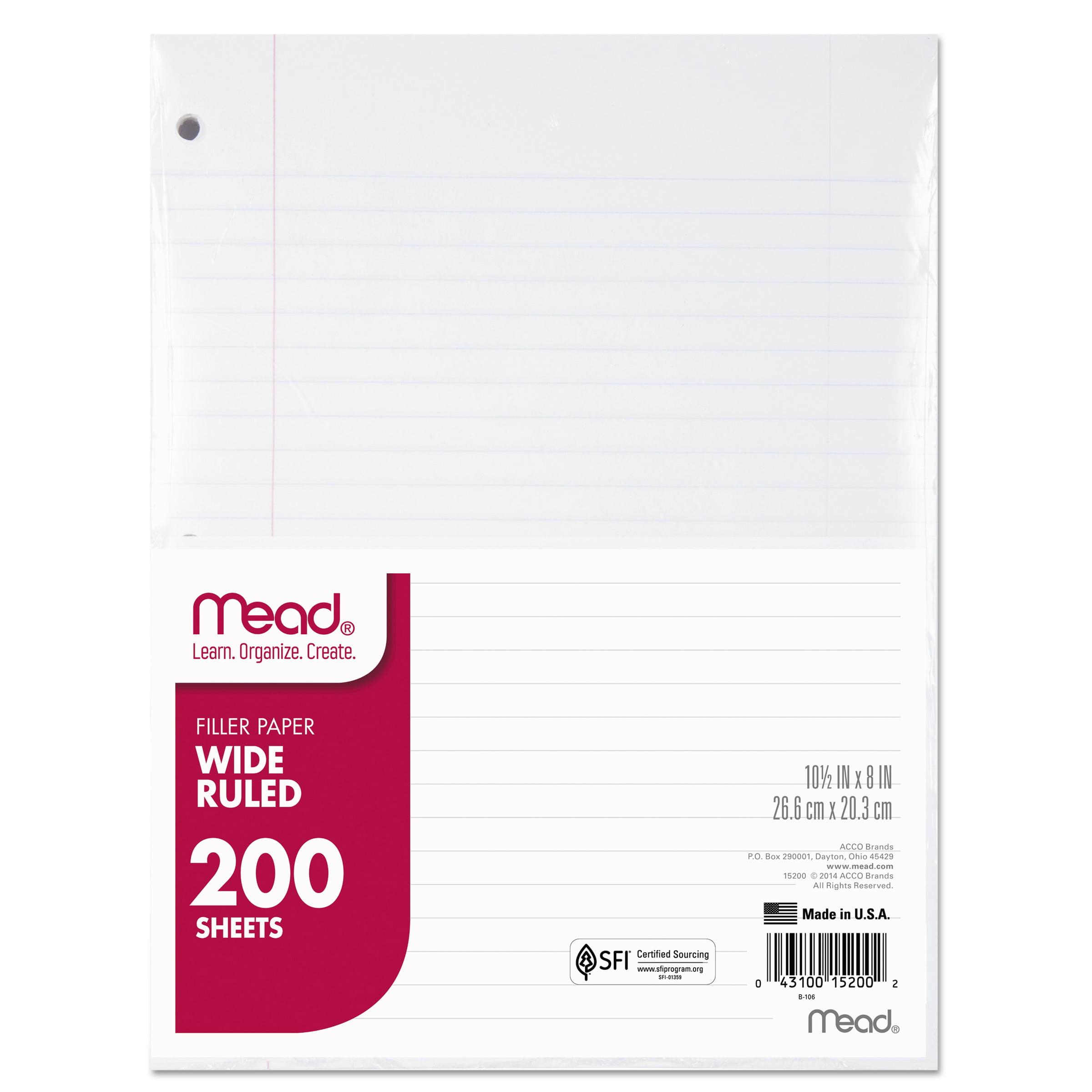 Mead Filler Paper, 15lb, Wide Rule, 3 Hole, 10 1/2 x 8, 200 Sheets -MEA15200