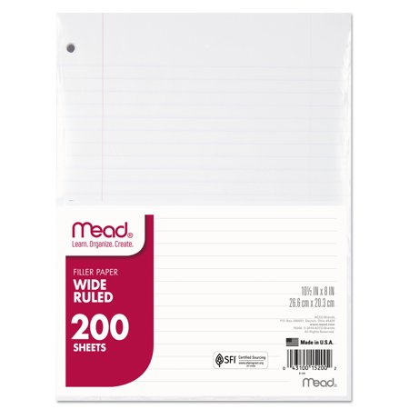(2 Pack) Mead Filler Paper, 15lb, Wide Rule, 3 Hole, 10 1/2 x 8, 200 Sheets -MEA15200