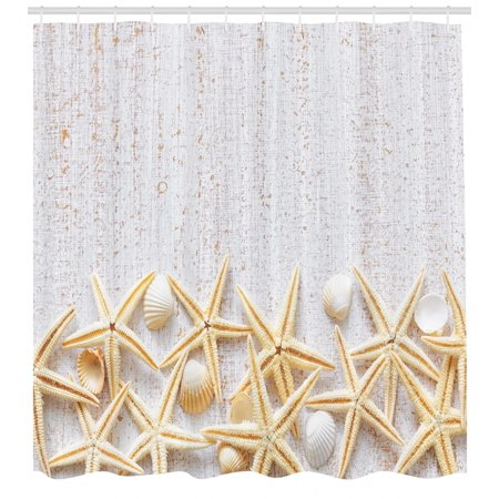Seashells Shower Curtain Sea Shells On Timber Pattern Tropical Honeymoon Getaways Classic Marine Theme Fabric Bathroom Set With Hooks Pearl Ivory