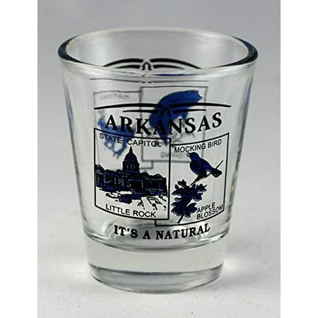 Arkansas Shot Glass - Arkansas State Scenery Blue New Shot Glass