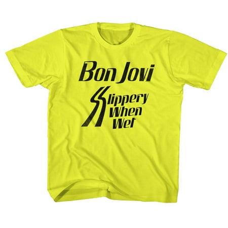Bon Jovi Rock Band Slippery When Yellow Youth Big Boys T-Shirt Tee - image 1 de 1