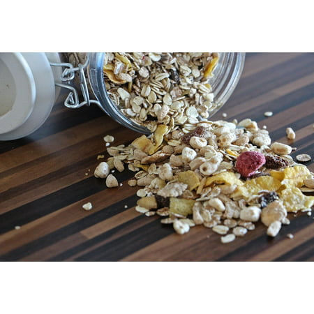 Canvas Print Eat Breakfast Healthy Muesli Fruits Food Cereals Stretched Canvas 10 x