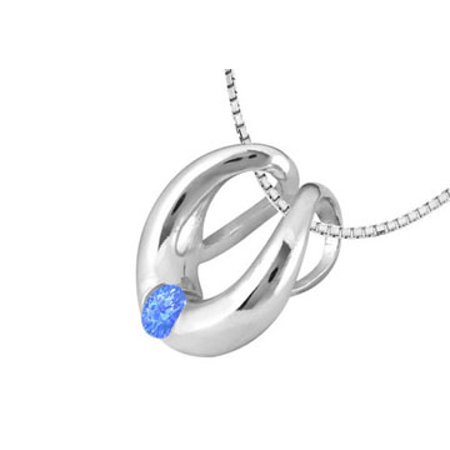 Horseshoe Pendant in White Gold 14K Half Carat Diffuse Sapphire Total Gem Weight - image 3 of 5
