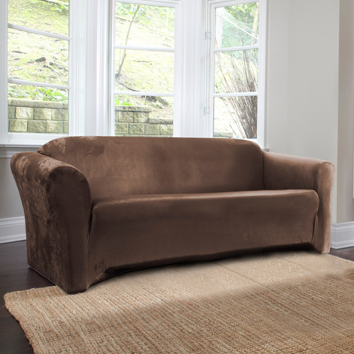 Global CoverWorks Harper 1 Piece Stretch Suede Sofa Slipcover (Brown)  (Solid)