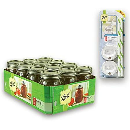 jar drinking glasses kit ball jar mouth pint jars with lids and bands regular set of 12 4. Black Bedroom Furniture Sets. Home Design Ideas