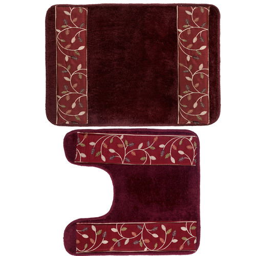 Sweet Home Collection Aubury 2 Piece Leaf Banded Batrh Rug Set