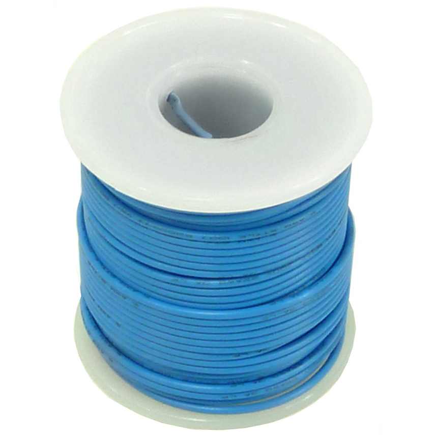 Stranded Hook Up Wire - 22 Gauge, 100 Foot Spool - Blue (Shade May Vary)