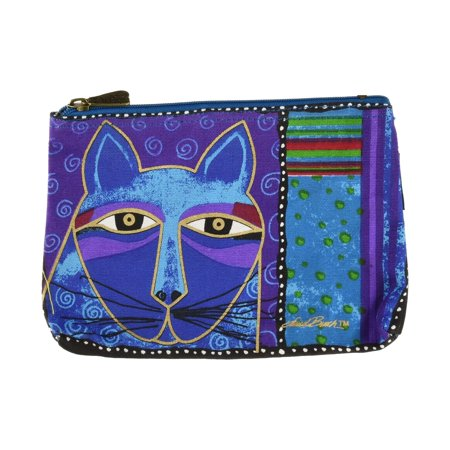 Laurel Burch Blue Whiskered Cats Cosmetic Bag - Whiskers Makeup