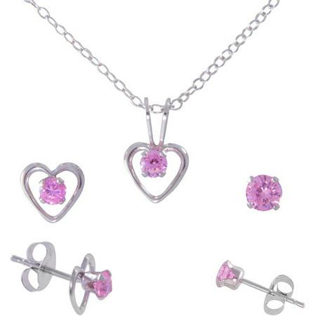 Patterned Open Heart (Girls' Round Pink CZ Sterling Silver Pendant, Open Heart Stud Earrings and Plain Stud Earrings Set )
