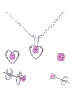 98d61d3e8 Product Image Girls' Round Pink CZ Sterling Silver Pendant, Open Heart Stud  Earrings and Plain Stud