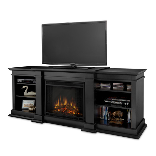 Real Flame Fresno Indoor TV Stand Electric Fireplace in Black