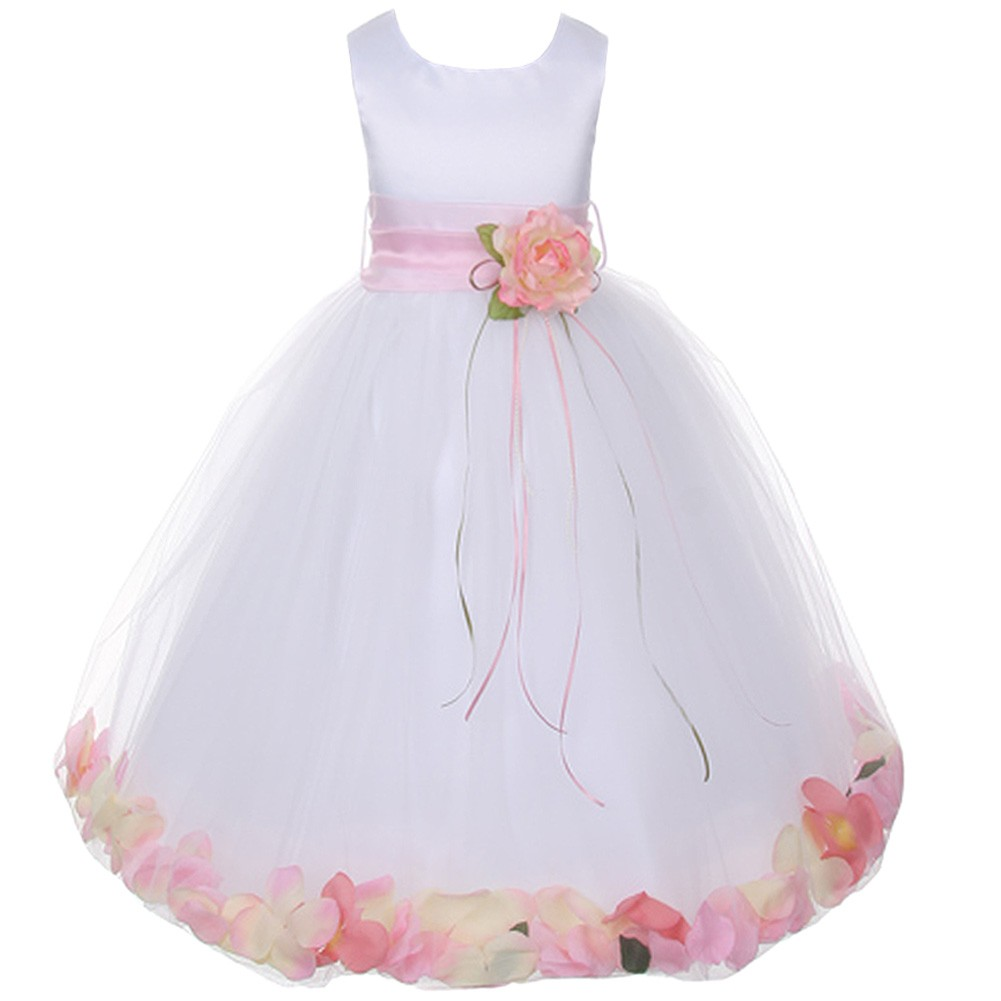 Kids Dream Little Girls White Satin Pink Petal Flower Gir...