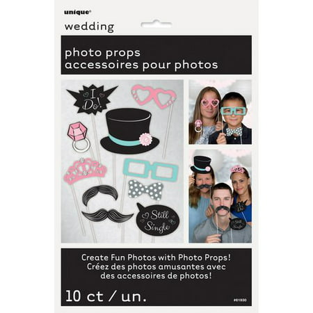 Wedding Photo Booth Props, 10pc - Photo Booth Fun Props
