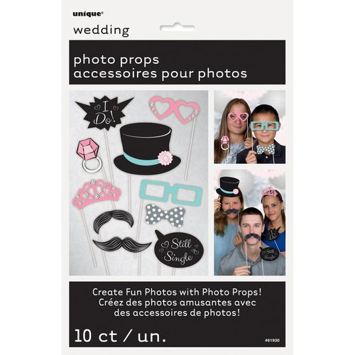 Wedding Photo Booth Props, 10 Pieces