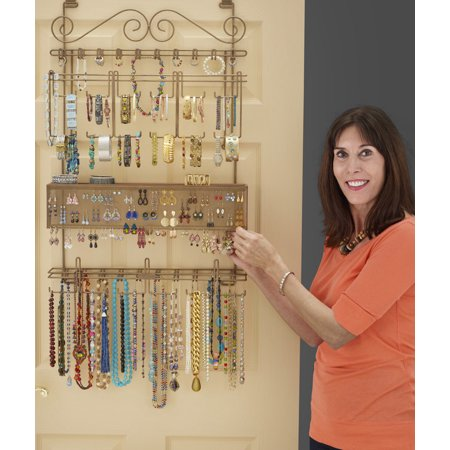 Longstem Overdoor Wall Jewelry Organizer in Bronze - Holds over 300 pieces. Unique patented product - Rated