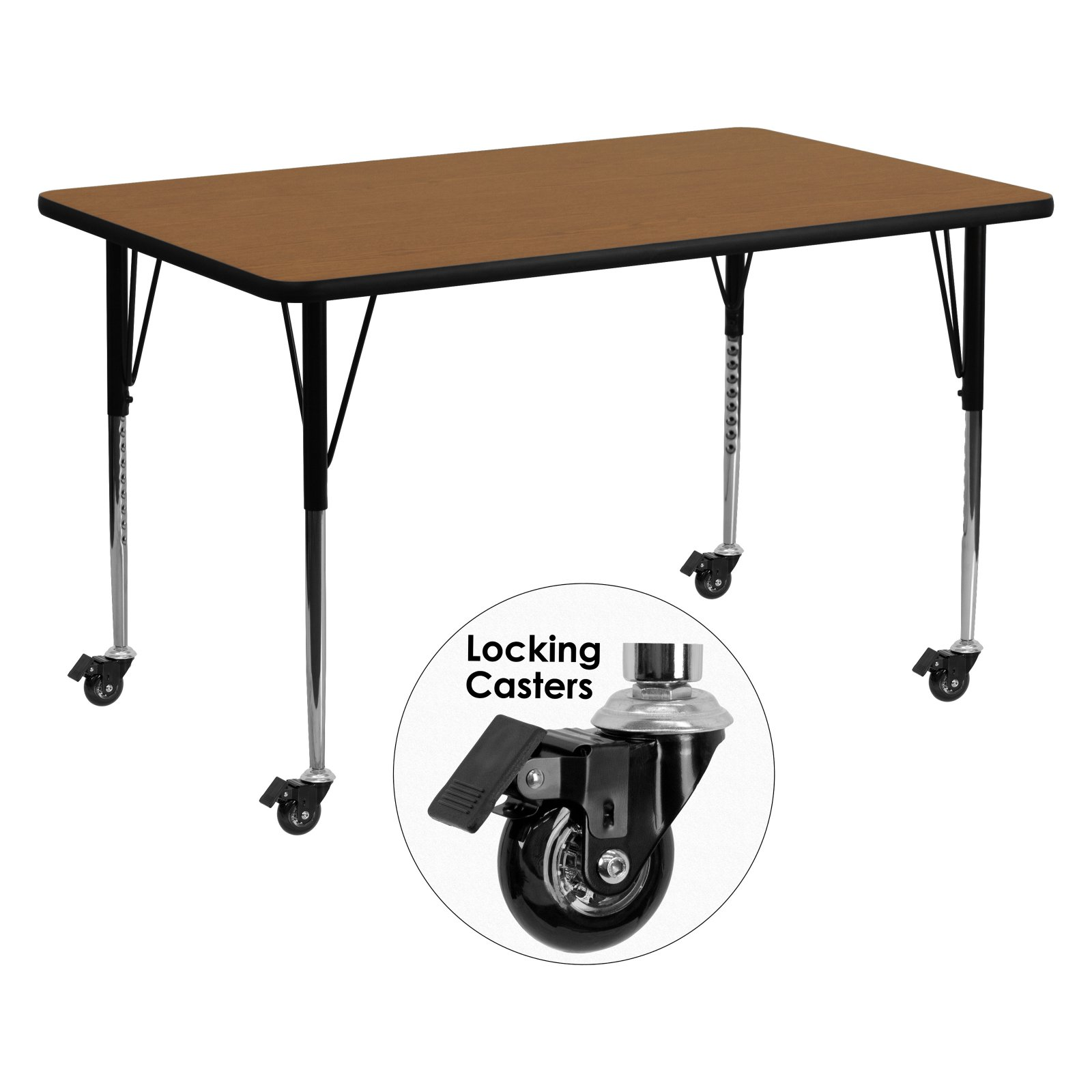Flash Furniture Mobile 30''W x 72''L Rectangular Activity Table with Oak Thermal Fused Laminate Top and Standard Height Adjustable Legs
