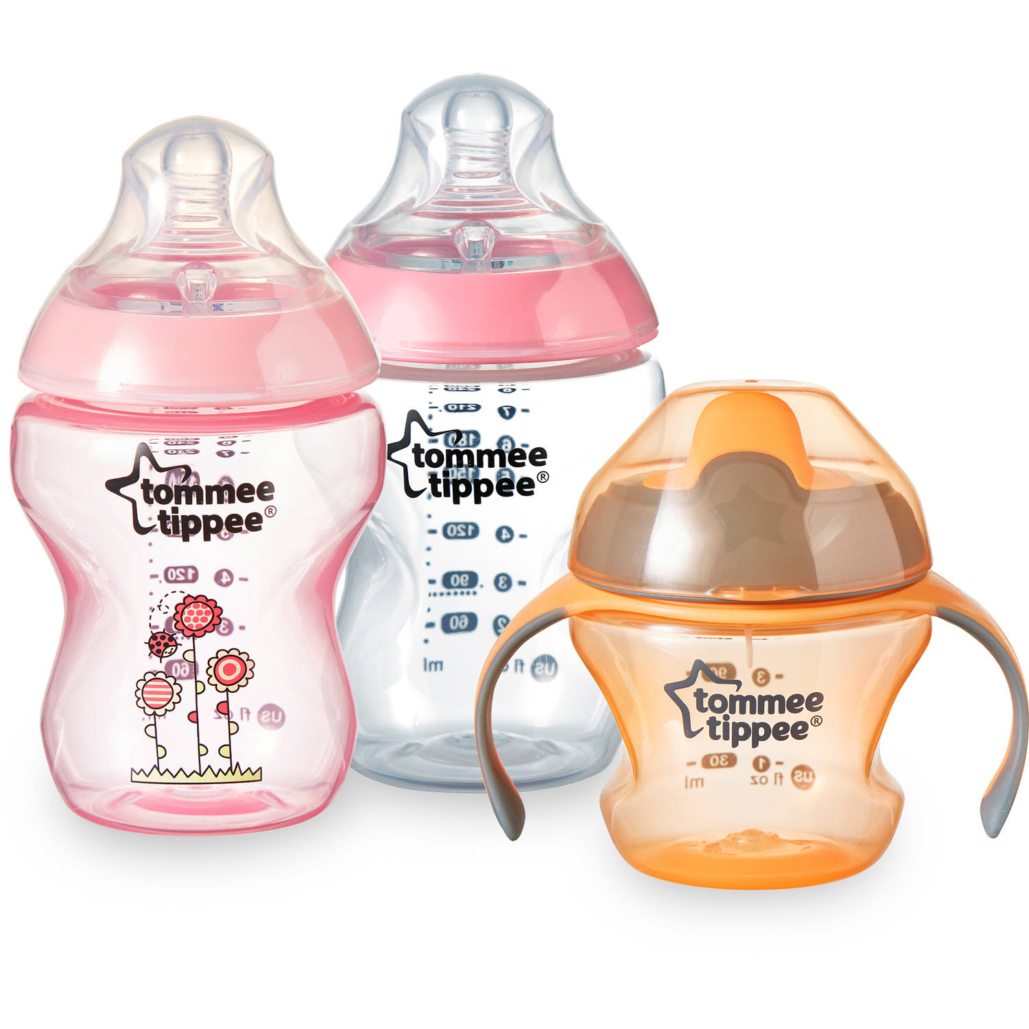 Tommee Tippee Tip it Up Bottle and Training Cup, BPA-Free, 9 oz Bottle, 5 oz Cup, Girl
